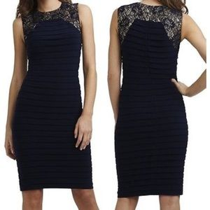 Adrianna Papell Navy Illusion Lace Bandage Dress
